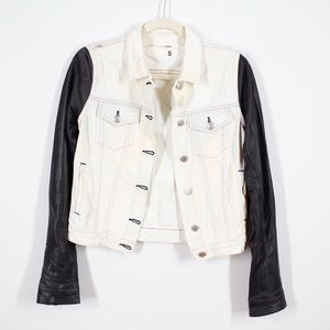 Rag & Bone Bleach Out Denim Leather Sleeves Jacket